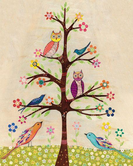 Arbol buhos y pájaros
