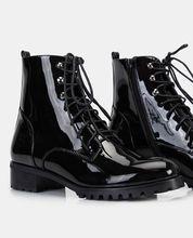 Faux Patent Leather Combat Boots Faux Patent Leather Combat Boots