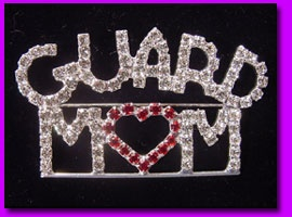 Color Guard - Mom Crystal Pin $18 Color Guard mom jewelry and colorguard gifts.