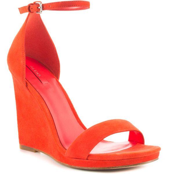 Aldo Women's Elley - Orange ($86) ❤ liked on Polyvore featuring shoes, sandals, orange sandals, aldo sandals, high heel platform shoes, orange high heel sandals and aldo shoes