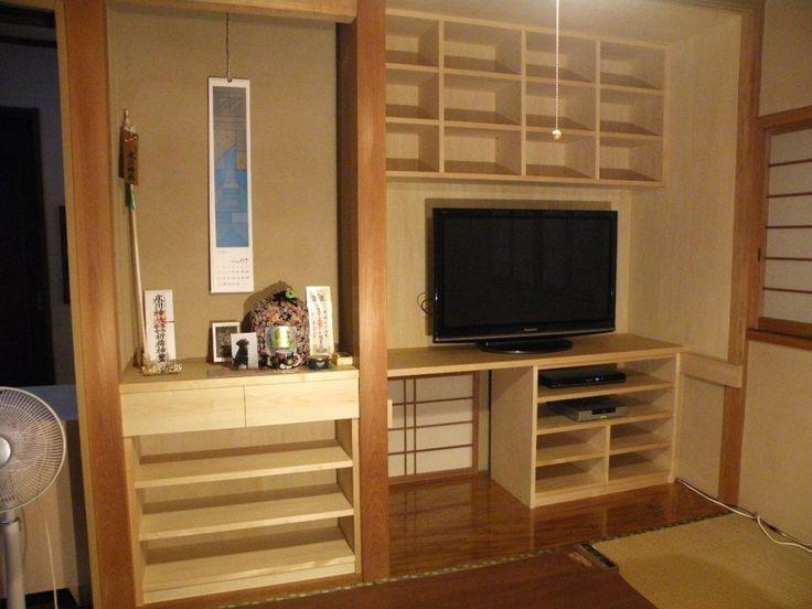 押入れ収納(テレビ台・本棚・整理棚) 無垢のオーダーメイド家具(東京/新宿/神楽坂)