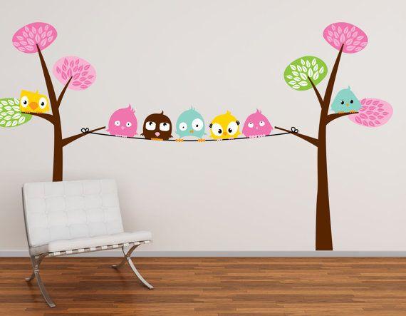 Pájaros de la diversión en una línea de árboles de vivero de vinilo Pegatinas de pared