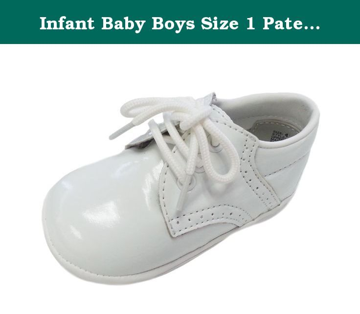 Infant Baby Boys Size 1 Patent White Classic Saddle Style Dress Shoes. An adorable pair of shoes for your little boy. These classic style solid color saddle shoes are perfect for many occasions. Comes in your choice of white, patent white, ecru, black, patent black, navy, brown.