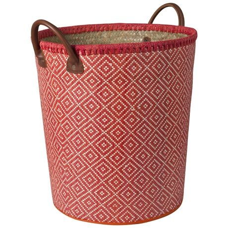 Bizzare Basket W Leather Hdl 44cm | Freedom Furniture and Homewares