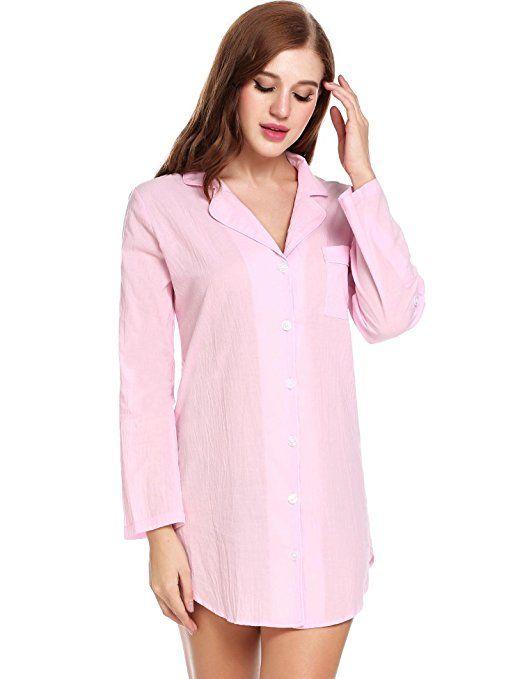 Dicesnow Womens Boyfriend Long Sleeve Sleep Shirts Button Down Tops Cotton  Sleepwear 7bac8cd7f