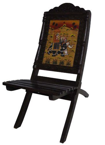 Indian Vintage Wooden Chair Traditional Solid Wood Hand Carved Elephant Painted