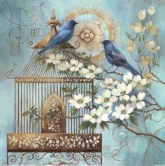 Vintage printable - blue birds and bird cage