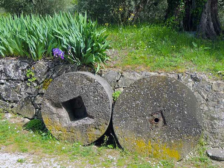 Ancient wheels from an olive press at Le Casacce, Tuscany. #tuscany