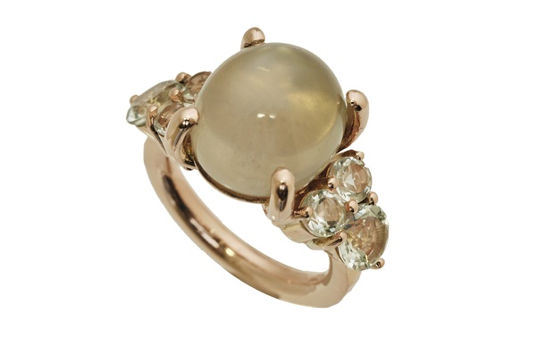 Red gold ring set with Moon stone and Green amethyst  www.topiaryandashe.com