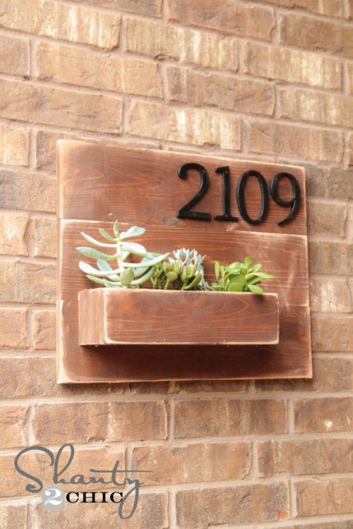 DIY Address Wall Planter--I'm making mine a mailbox instead.  No plants would survive a Canadian winter.