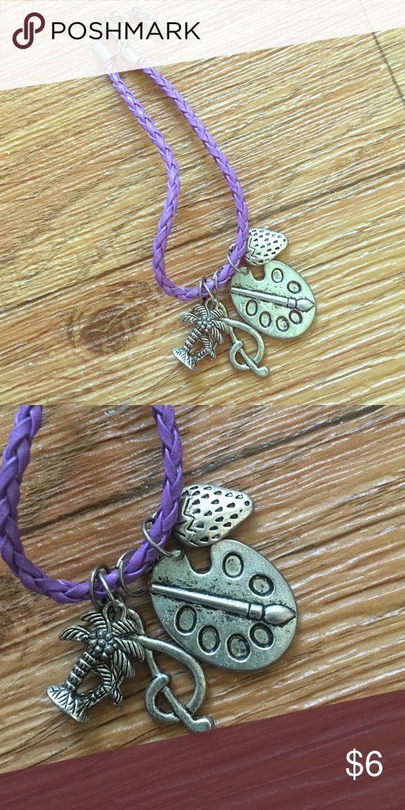 Purple Charm Bracelet Palm tree, music note, artist pallet, & strawberry charm. Boutique Jewelry Bracelets