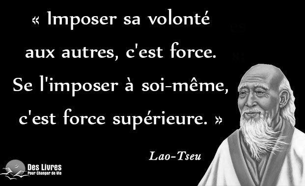"""""""Imposer sa volonté aux autres, c'est force. Se l'imposer à soi-même, c'est force supérieure."""" - Lao-Tseu #lao_tseu #volonte #force #imposer http://www.des-livres-pour-changer-de-vie.fr/"""