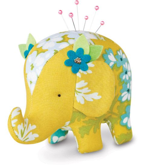 Heather Bailey - elephant pin cushion pattern - I don't know where to put this! I just looove it! Yellow, elephants, stitchery...adore :)