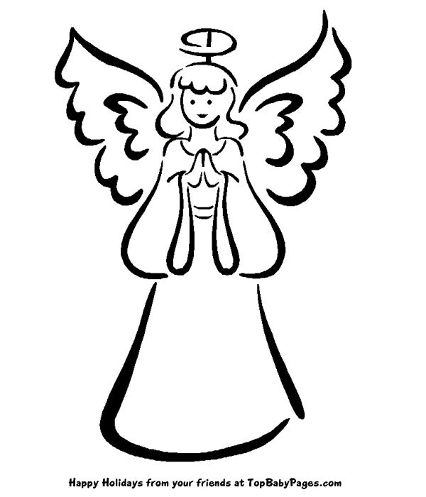 angel drawings for christmas ornaments | Christmas Angel Coloring Pages