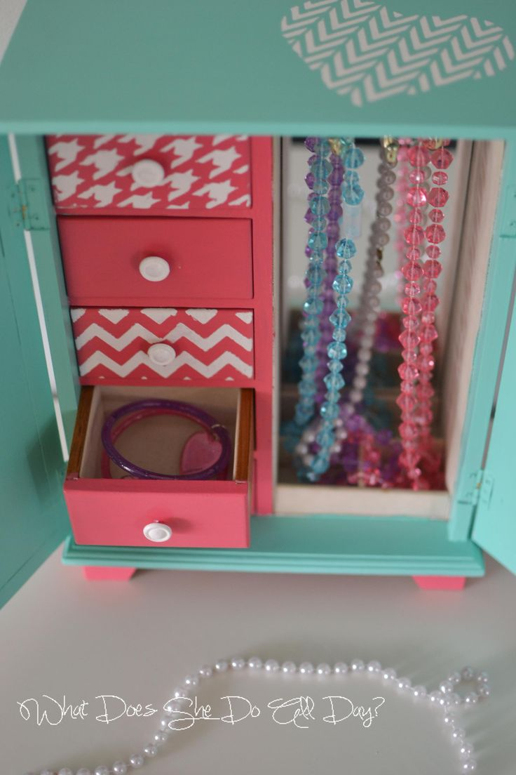 little girl jewelry box -- facelift on an old thrift store one