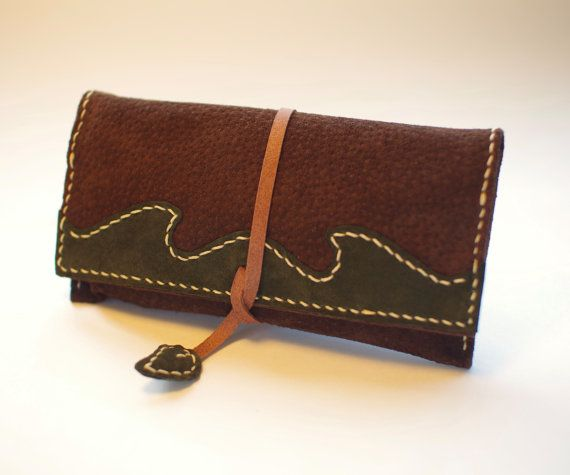 Leather Tobacco Pouch Color: Dark Brown & Green by TheRoadie