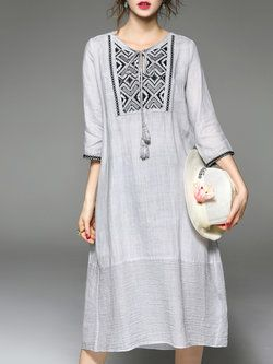 Gray Printed 3/4 Sleeve Midi Dress