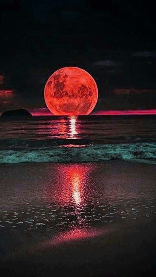 Bloody Moon over the sea