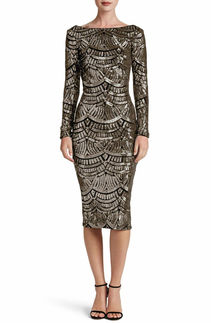 Main Image - Dress the Population Emery Scoop Back Sequin Midi Dress