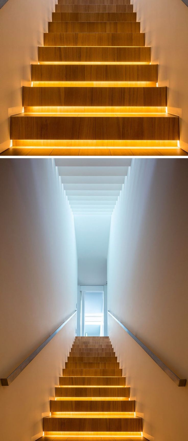 18 Examples Of Stair Details To Inspire You // These wooden stairs with hidden lighting, light up from underneath to ensure you'll never miss a step again.