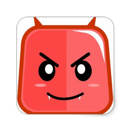 Emoji devil red angry faced sticker - kids stickers gift idea diy decor birthday sticker children christmas gifts presents