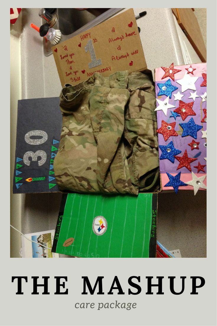 The Mashup Care Package Idea-- Birthday, first anniversary, Start of football season, and daughter's choice. | graceandthane.com