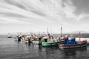 Black White And Some Color - Boats Abreast  by Andrew Hewett