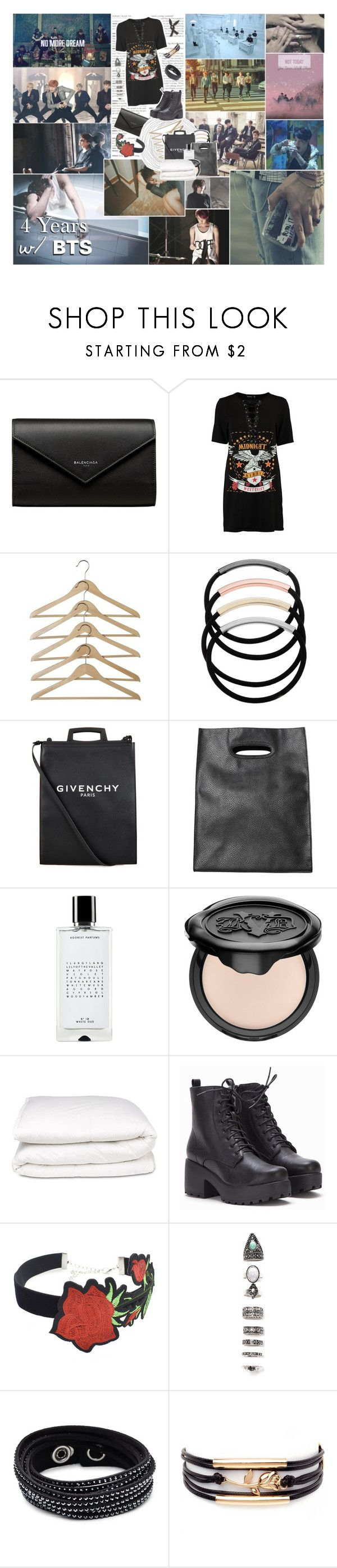 """4 Years W/ BTS :: Different Eras"" by k-pop-things-and-such ❤ liked on Polyvore featuring Balenciaga, Boohoo, L. Erickson, Givenchy, Monki, Agonist, Kat Von D, Selfridges, WithChic and Nasty Gal"