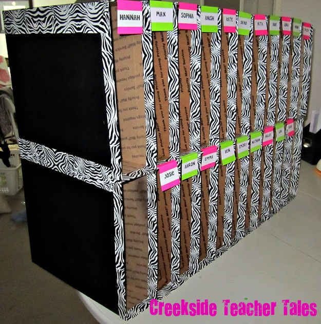 Turn them into mailboxes for your students. | 35 Money-Saving Classroom DIYs For The Teacher On A Budget