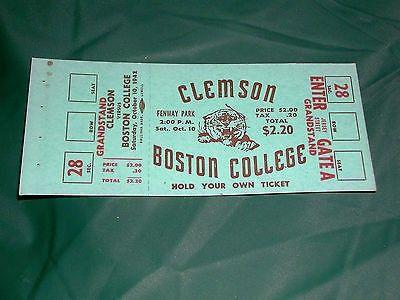 Vintage Clemson Boston College Full College Football Ticket 10/10/42 | #480860659