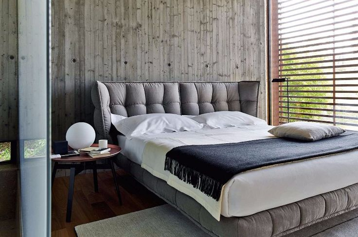 The bedroom designs featuring the Husk bed by BB Italia, the first with a black and white background, in the middle photo with a wood wall and in the bottom in a more rustic setting.Contemporary black white grey master bedroom inspiration ideas modern bedroom design 2