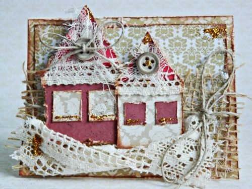 Christmas houses tutorial made by Noomiy. Papers from Winter Elegance and A Time4Joy collections