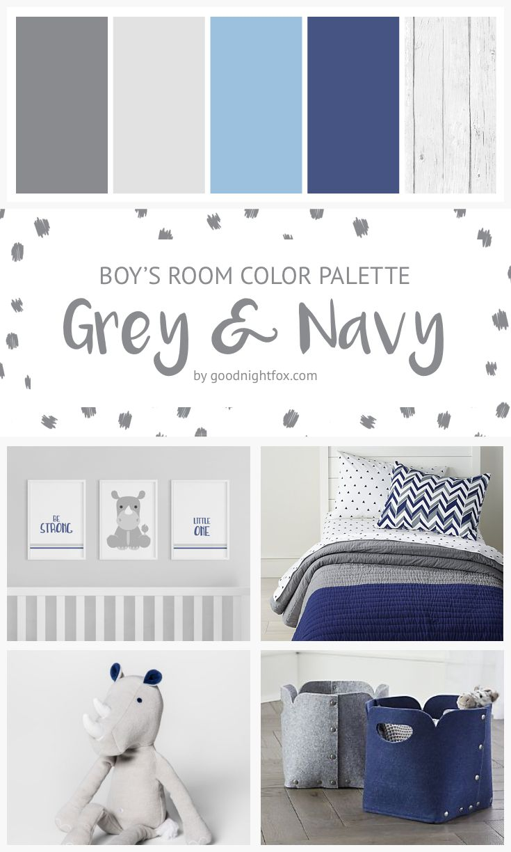 Raum-Farbpalette des Grau-u. Marine-Jungen – Baby…someday!