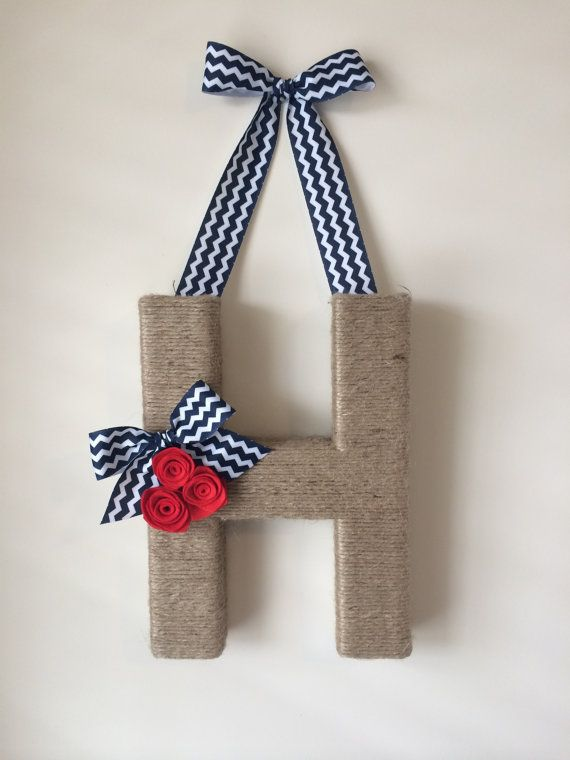 The Original Chevron Jute Monogram Wreath. Handmade Letter Wreath. Twine Letter. Chevron Wreath. Jute Letter. Mother's Day. Door Hanging