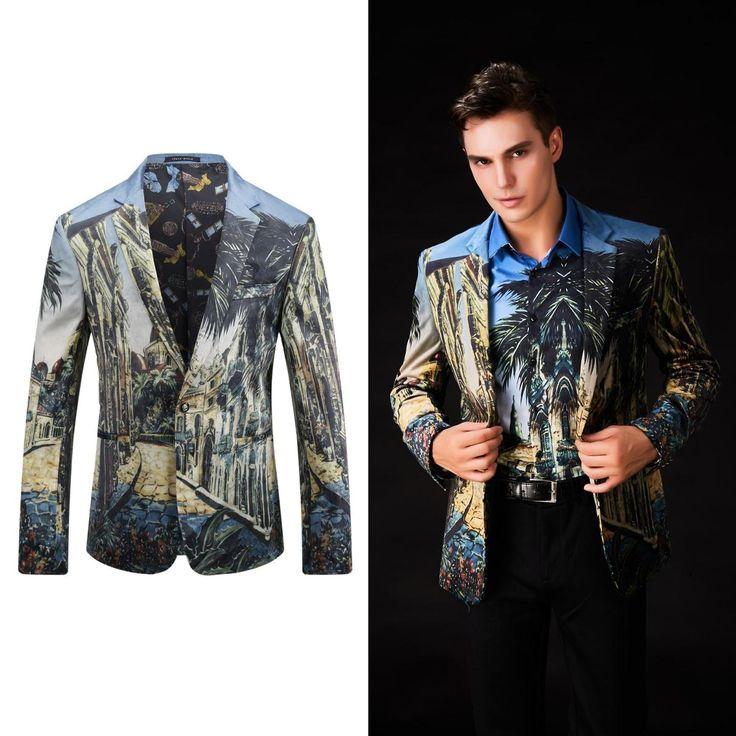 OSCN7 Fashion Printed 2017 New Blazer Men Slim Fit Leisure Party Blazer Masculino Plus Size Casual Mens Blazer Jacket