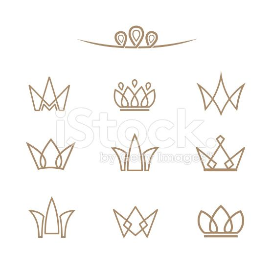 Vector logo set. Crowns in a line style. royalty-free stock vector art