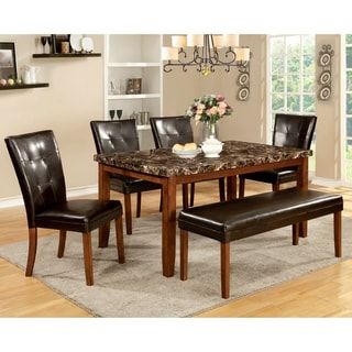 Shop For Furniture Of America Hughfort Antique Oak Faux Marble Dining Table.  Get Free Shipping