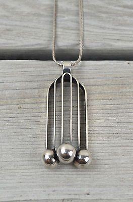 Finland Kupittaan Kulta Modernist Sterling Silver Pendant Necklace Elis Kauppi