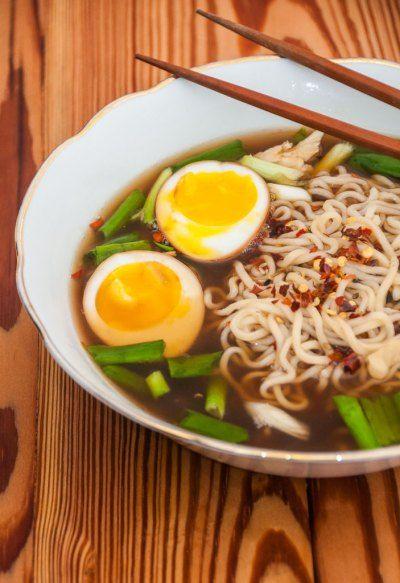 Sopa japonesa Shoyu Lamen de frango e ovo   Cozinha do João