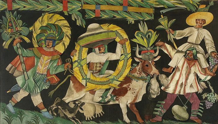 "Zofia Stryjeńska, ""The Seasons. July-August (Pageant III - with a cow)"", 1925, 164 x 275.5 cm, tempera on canvas, inv.  MPW 1214 photo. The National Museum in Warsaw"