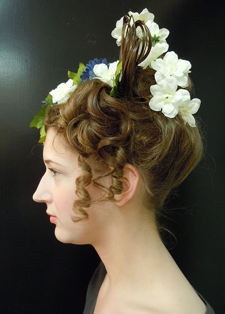 1830s hair I did for my hair and make up final. Some is my hair, some is wig.