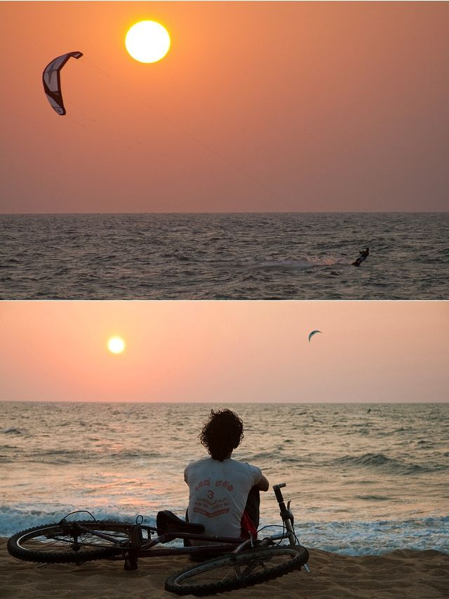 Kitesurf on the beach of Negombo, Sri Lanka