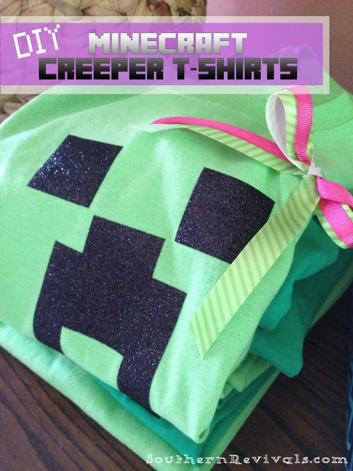DIY Minecraft Creeper Shirts by Jamie from Southern Revivals via Lil' Luna