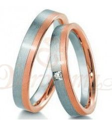 Βέρες γάμου δίχρωμες με διαμάντι Breuning 4171-4172