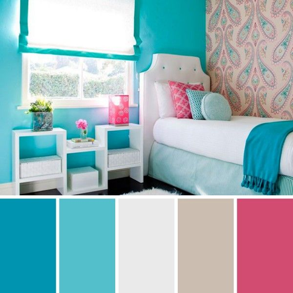 Dormitorio turquesa joven