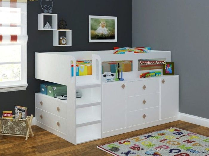 Cosmos White Childrens And Teenagers Midsleeper Cabin Bed With Storage
