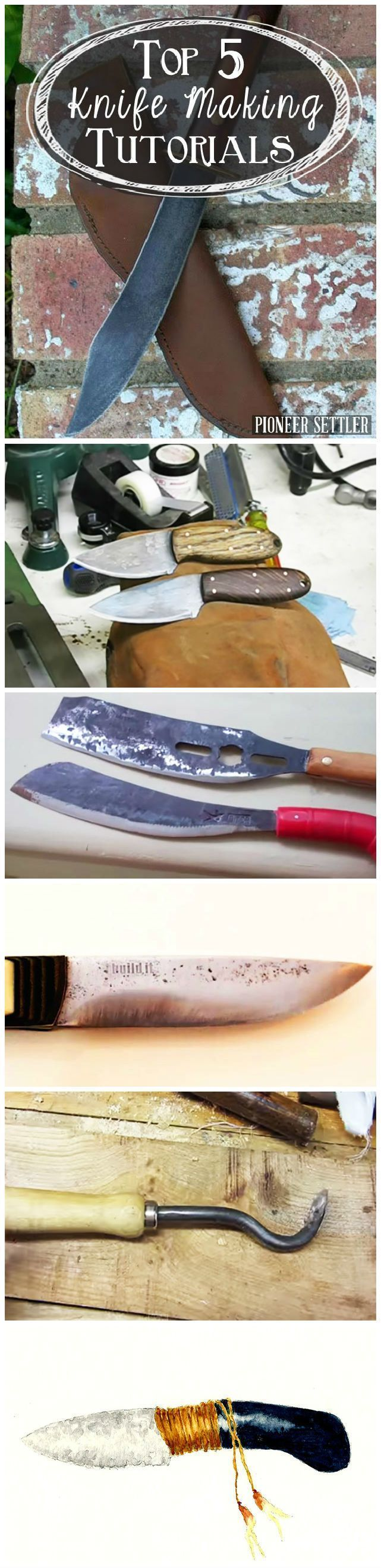 Top 5 Knife Making Tutorials | Blacksmithing & Forging | DIY Forge, Knife Making Projects and Anvil Crafting Tutorials by Pioneer Settler at http://pioneersettler.com/top-5-knife-making-tutorials/