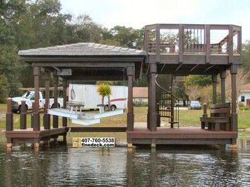 New Two Story Dock With Hip Roof Over a Boat Slip, Maitland FL. craftsman