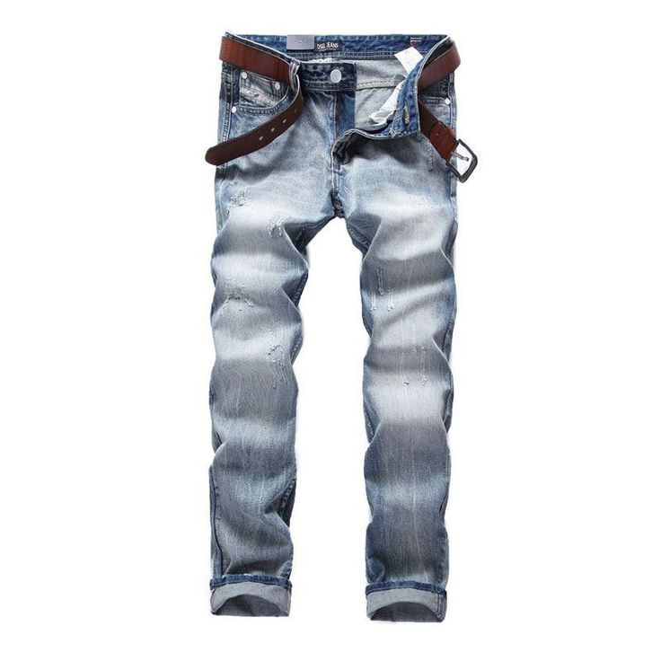 White Washed Italian Designer Men Jeans High Quality Dsel Brand Straight Fit Distressed Ripped Jeans For Men,100% Cotton 981-1