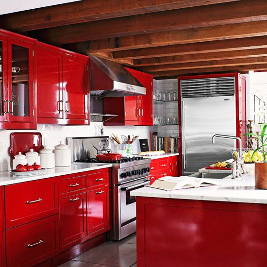 Used White Kitchen Cabinets: Red Cabinets, Cabinets And Carrara Marble